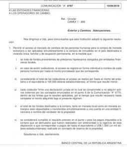 Resolución BCRA Compra de dólares para crédito hipotecario