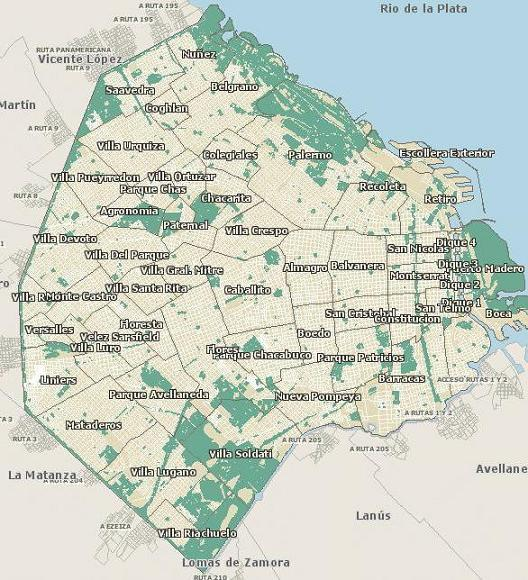 Mapa de barrio de Capital Federal